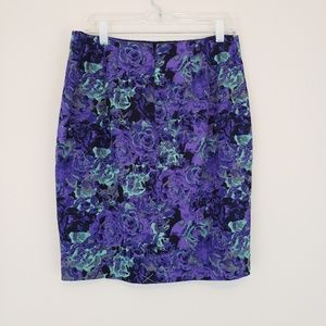 Gray Purple Floral Roses Skirt Talbots NWOT 10